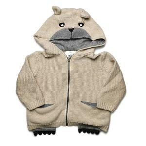 Zara Bear Paw Pocket Knit Sweater 6-9m
